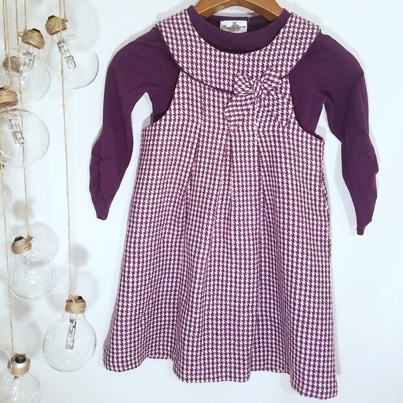 Rare Editions Other - Rare Editions 2 Piece Purple Houndstooth Dress 6X